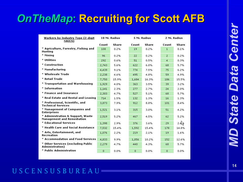 MD State Data Center 14 OnTheMap: Recruiting for Scott AFB