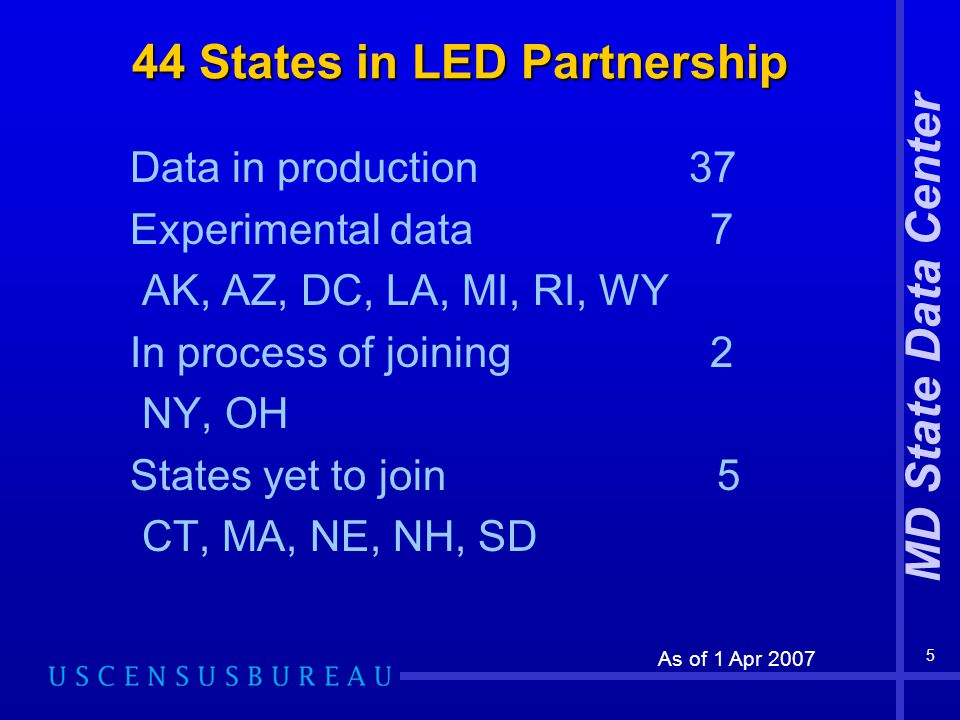MD State Data Center 5 44 States in LED Partnership Data in production 37 Experimental data 7 AK, AZ, DC, LA, MI, RI, WY In process of joining 2 NY, OH States yet to join 5 CT, MA, NE, NH, SD As of 1 Apr 2007