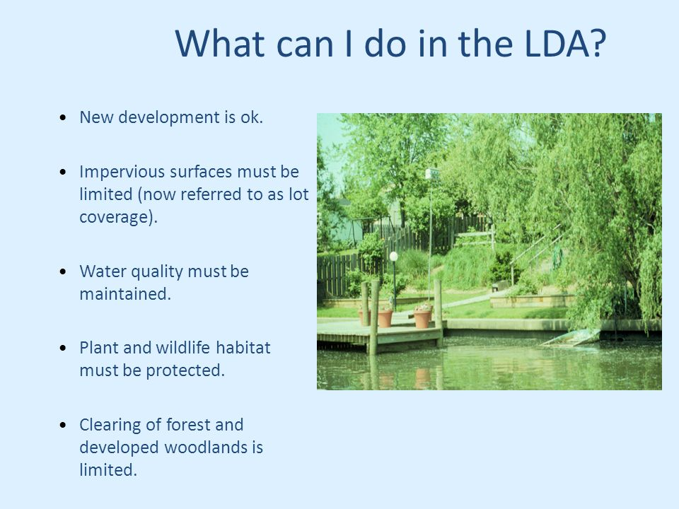 What can I do in the LDA. New development is ok.