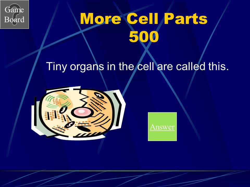 Game Board More Cell Parts 500 Tiny organs in the cell are called this. Answer