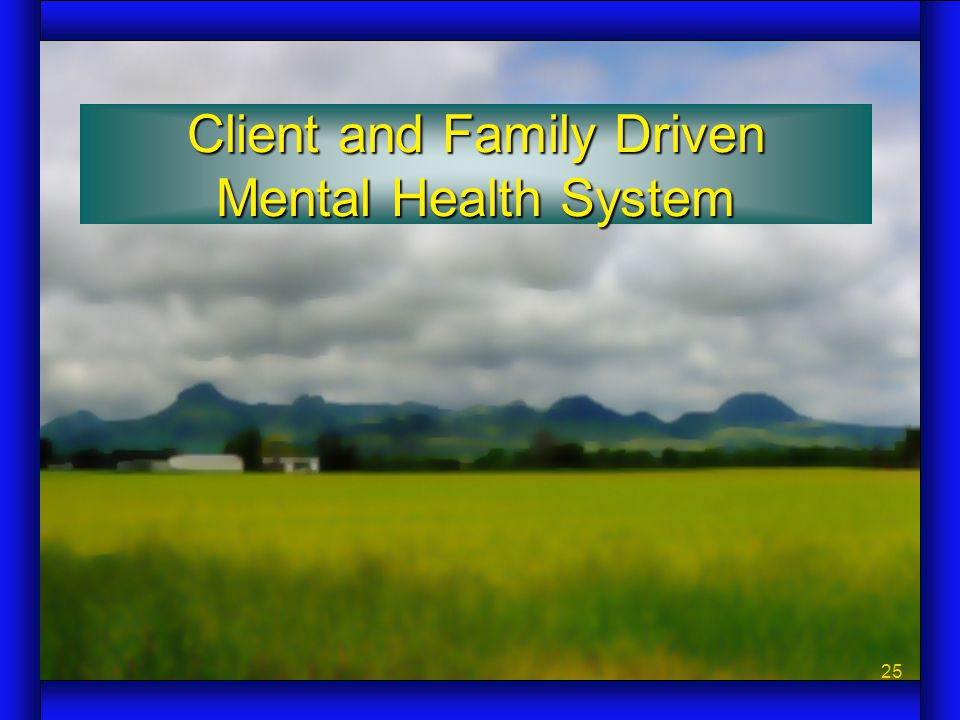 25 Client and Family Driven Mental Health System