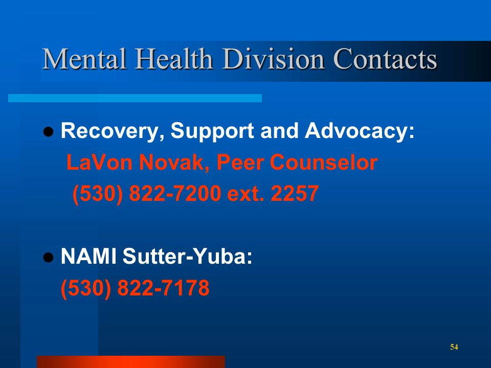 Mental Health Division Contacts Recovery, Support and Advocacy: LaVon Novak, Peer Counselor (530) 822-7200 ext.
