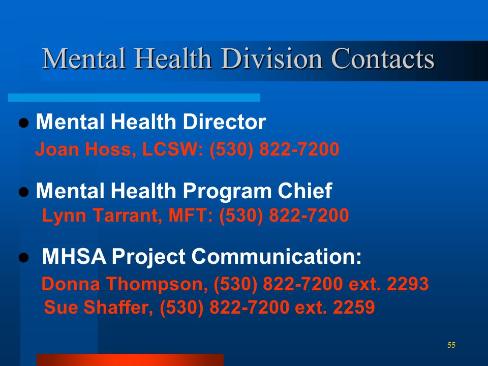 Mental Health Division Contacts Mental Health Director Joan Hoss, LCSW: (530) 822-7200 Mental Health Program Chief Lynn Tarrant, MFT: (530) 822-7200 MHSA Project Communication: Donna Thompson, (530) 822-7200 ext.
