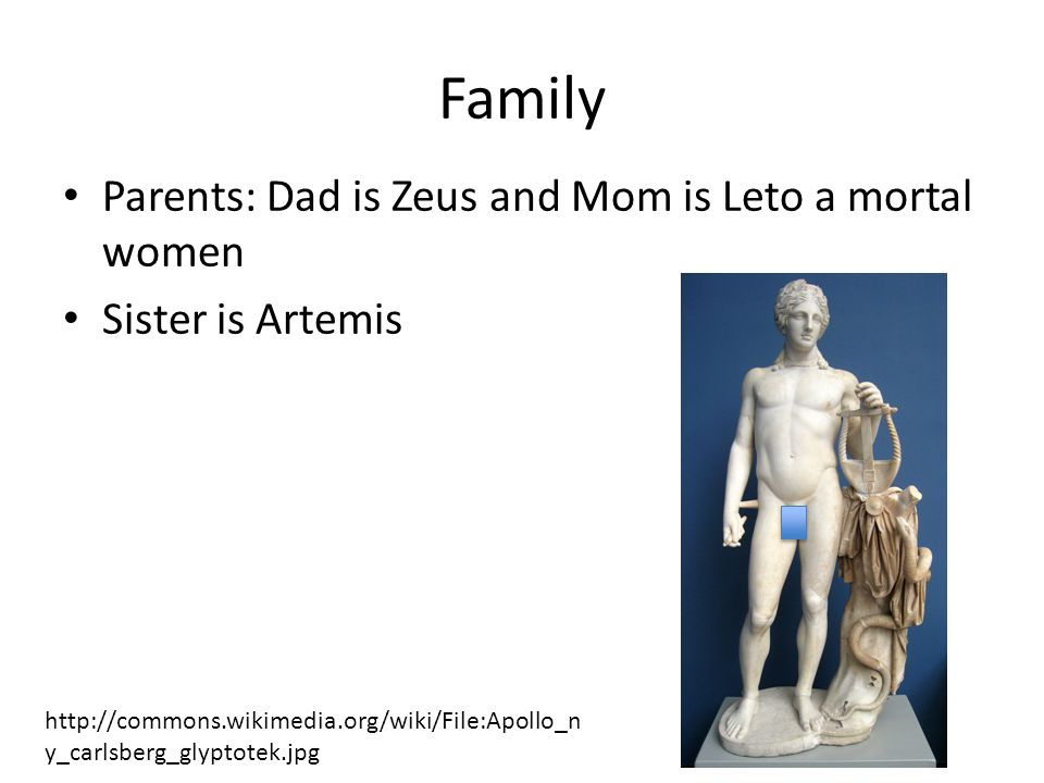 Family Parents: Dad is Zeus and Mom is Leto a mortal women Sister is Artemis http://commons.wikimedia.org/wiki/File:Apollo_n y_carlsberg_glyptotek.jpg