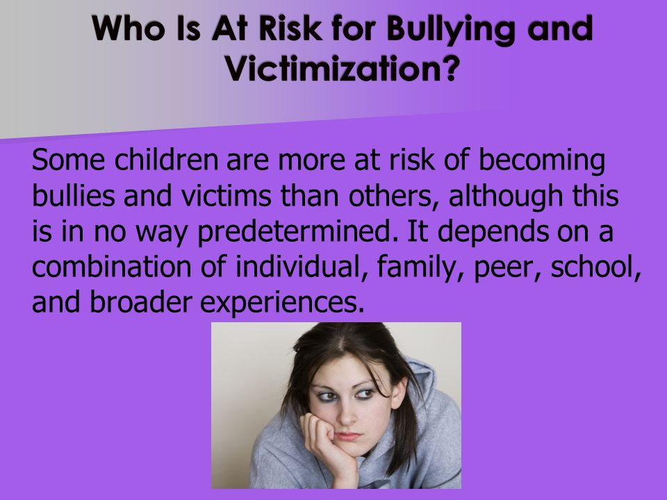 Individual characteristics of the child Bullying: Difficult temperament, Attention Problems, Hyperactivity.