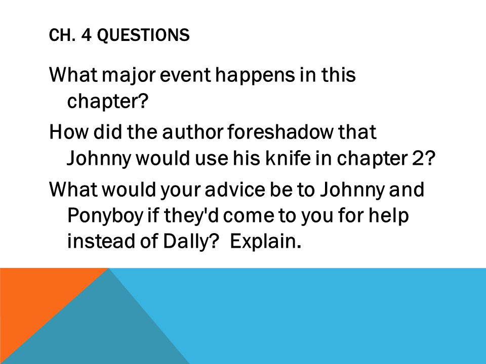 CH. 4 QUESTIONS What major event happens in this chapter? How did the author foreshadow that Johnny would use his knife in chapter 2? What would your