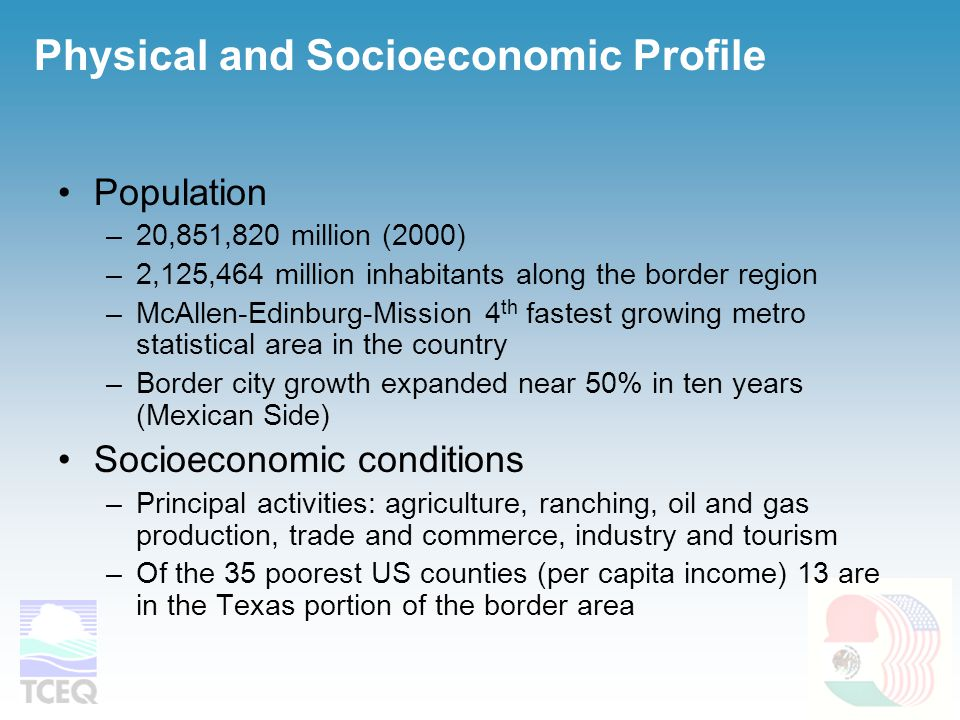 Population –20,851,820 million (2000) –2,125,464 million inhabitants along the border region –McAllen-Edinburg-Mission 4 th fastest growing metro statistical area in the country –Border city growth expanded near 50% in ten years (Mexican Side) Socioeconomic conditions –Principal activities: agriculture, ranching, oil and gas production, trade and commerce, industry and tourism –Of the 35 poorest US counties (per capita income) 13 are in the Texas portion of the border area Physical and Socioeconomic Profile