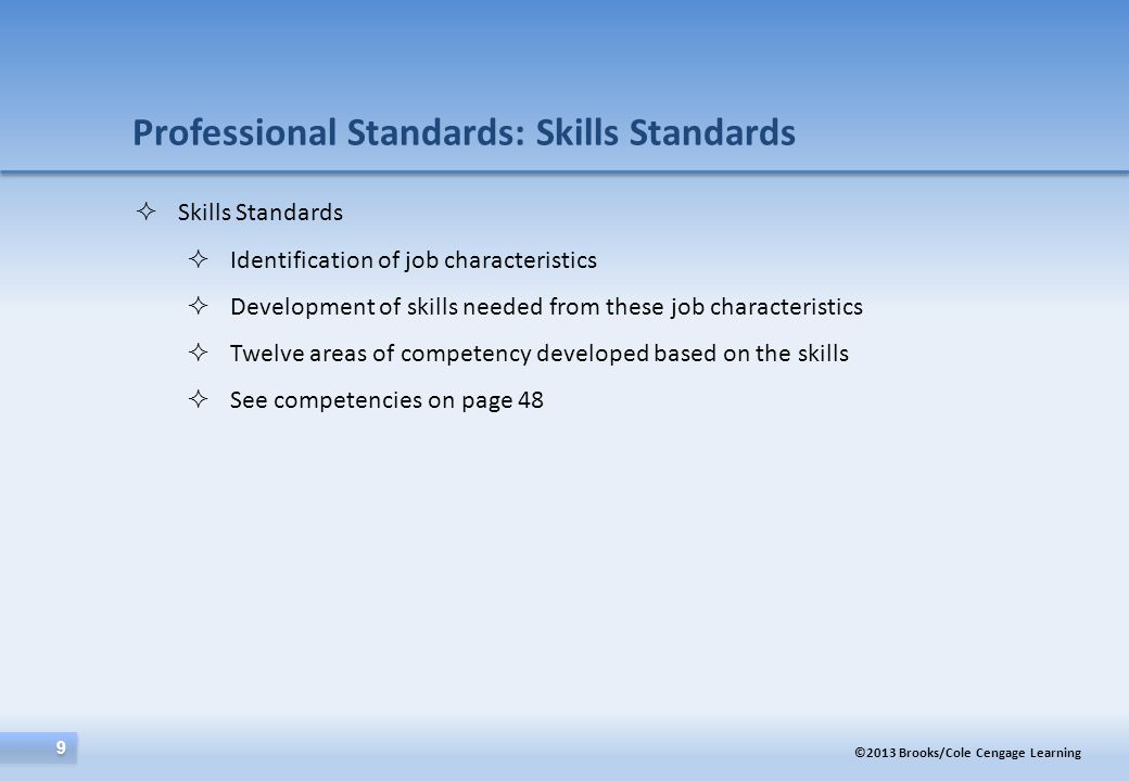©2013 Brooks/Cole Cengage Learning 10 Professional Standards: Credentialing Part 1  Purpose: Ensure competence of professional  Benefits of:  Increased Professionalization  Parity  Delimiting the field  Protection of the public  Types of Credentialing  Registration  Certification  Licensure  Credentialing in Human Services  CCE in consultation with NOHS and CSHSE developed HS—BCP  See Table 2.1  Other: e.g., state certifications??