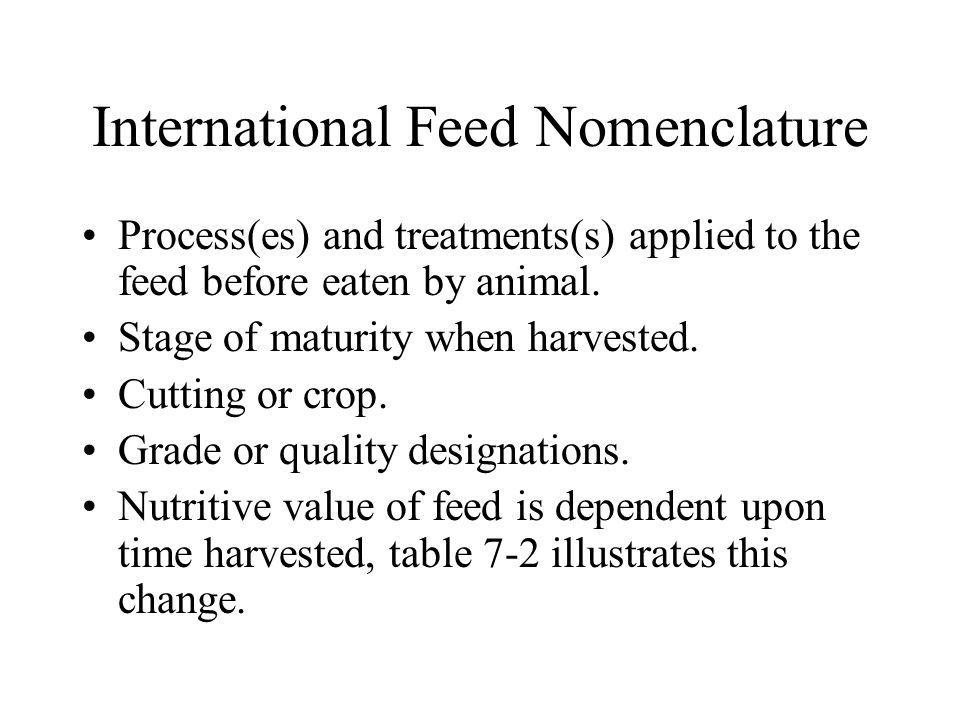 International Feed Nomenclature Process(es) and treatments(s) applied to the feed before eaten by animal. Stage of maturity when harvested. Cutting or