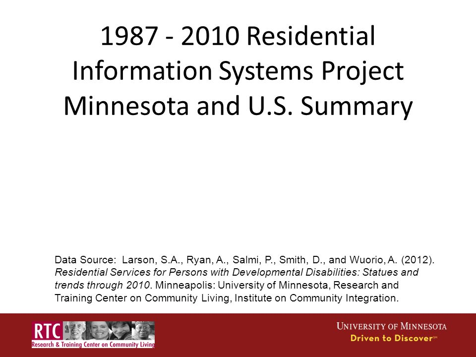 1987 - 2010 Residential Information Systems Project Minnesota and U.S.