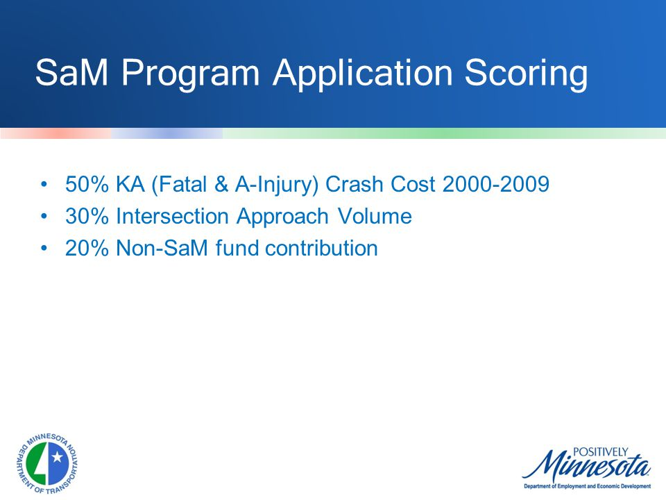 SaM Program Application Scoring 50% KA (Fatal & A-Injury) Crash Cost 2000-2009 30% Intersection Approach Volume 20% Non-SaM fund contribution