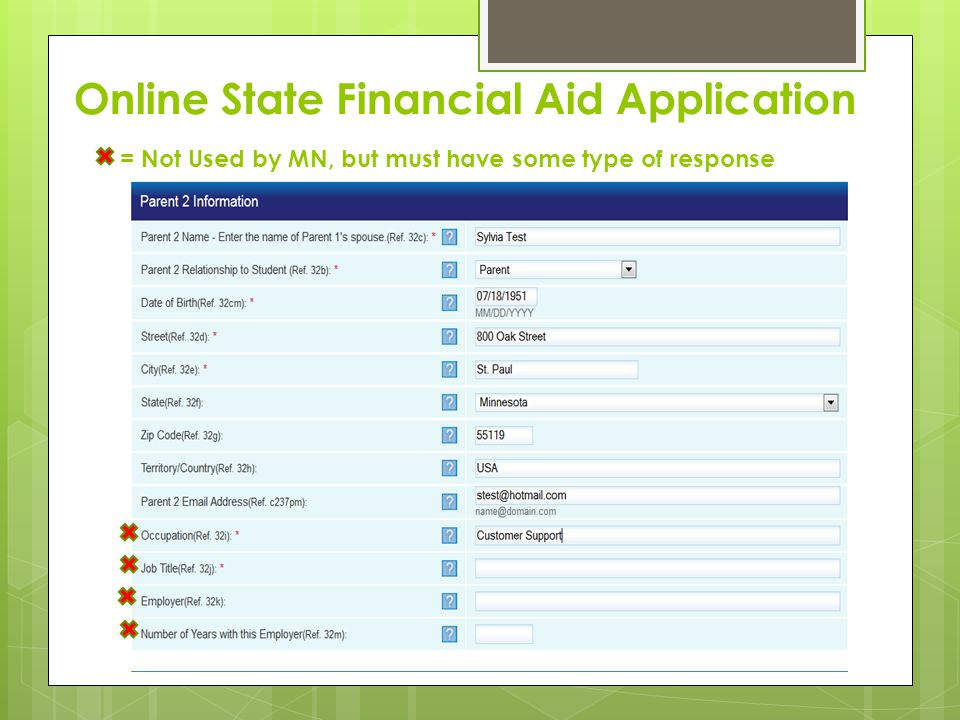 Online State Financial Aid Application = Not Used by MN, but must have some type of response