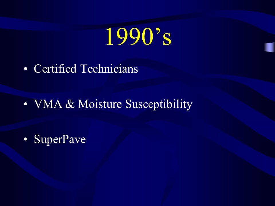 1990's Certified Technicians VMA & Moisture Susceptibility SuperPave