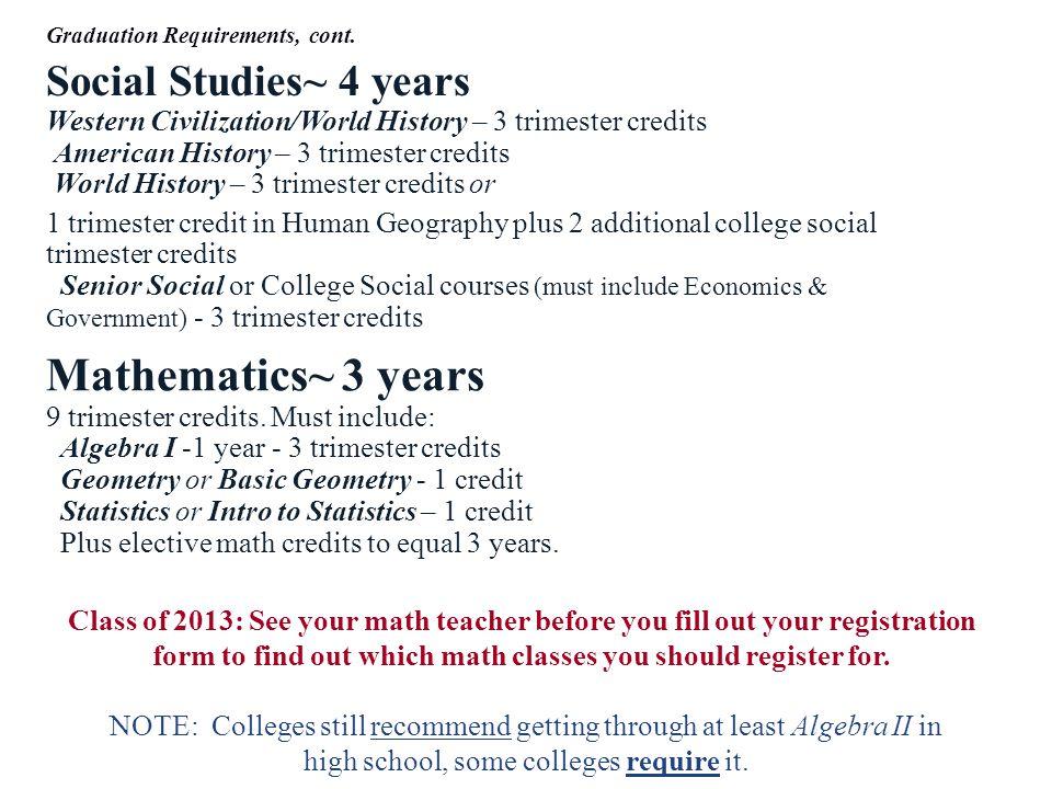 Social Studies~ 4 years Western Civilization/World History – 3 trimester credits American History – 3 trimester credits World History – 3 trimester cr
