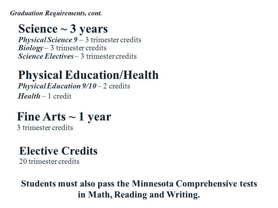 Science ~ 3 years Physical Science 9 – 3 trimester credits Biology – 3 trimester credits Science Electives – 3 trimester credits Physical Education/Health Physical Education 9/10 – 2 credits Health – 1 credit Fine Arts ~ 1 year 3 trimester credits Elective Credits 20 trimester credits Students must also pass the Minnesota Comprehensive tests in Math, Reading and Writing.