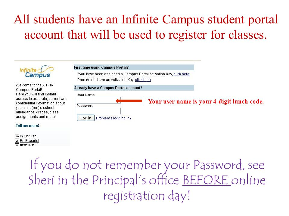 All students have an Infinite Campus student portal account that will be used to register for classes.
