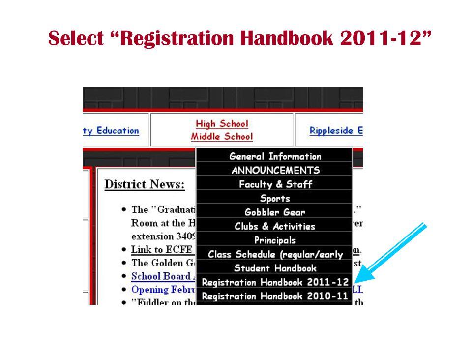 "Select ""Registration Handbook 2011-12"""