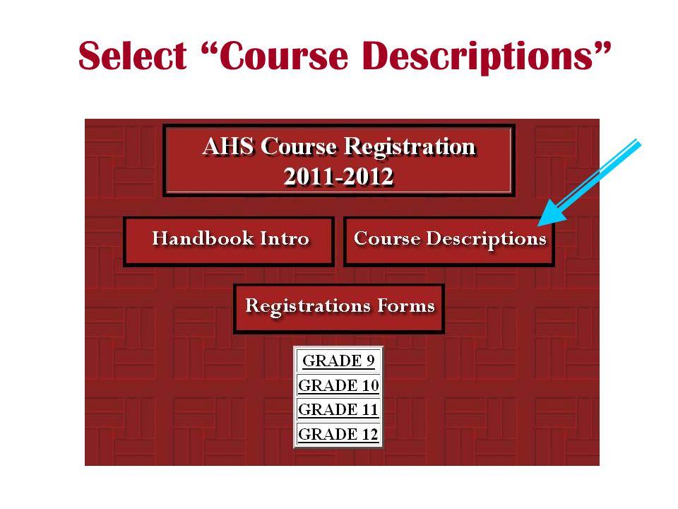 """Select """"Course Descriptions"""""""