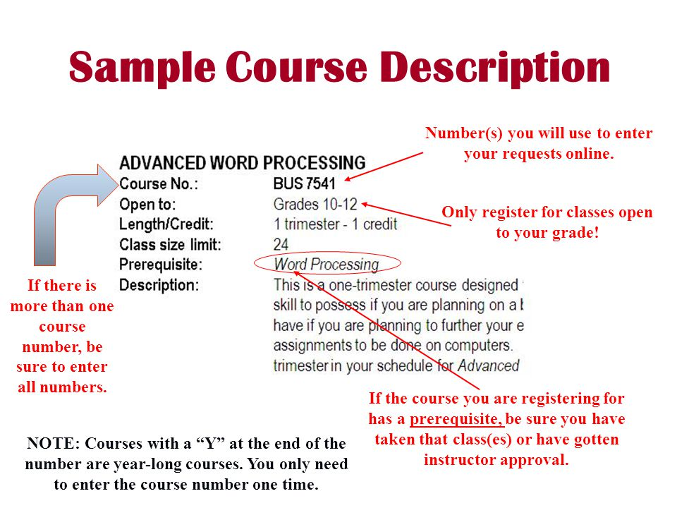 Sample Course Description Number(s) you will use to enter your requests online.