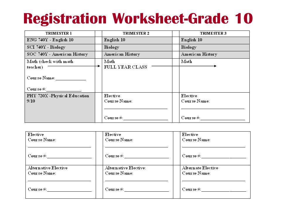 Registration Worksheet-Grade 10