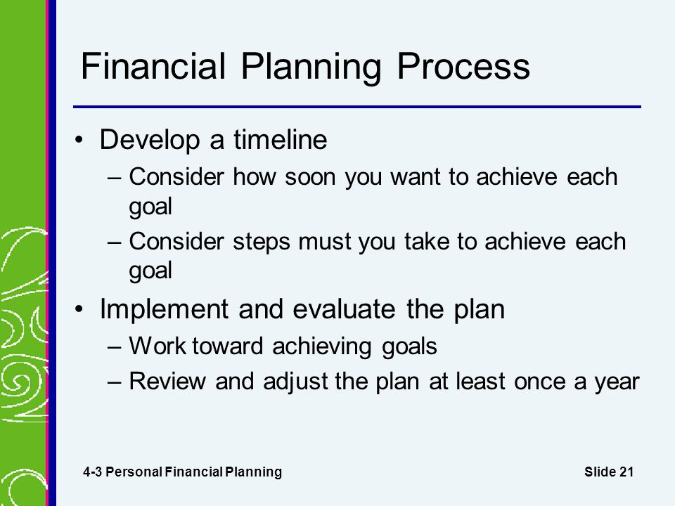 Slide 21 Financial Planning Process Develop a timeline –Consider how soon you want to achieve each goal –Consider steps must you take to achieve each