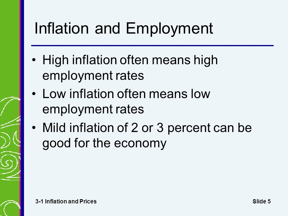 Slide 5 Inflation and Employment High inflation often means high employment rates Low inflation often means low employment rates Mild inflation of 2 or 3 percent can be good for the economy 3-1 Inflation and Prices