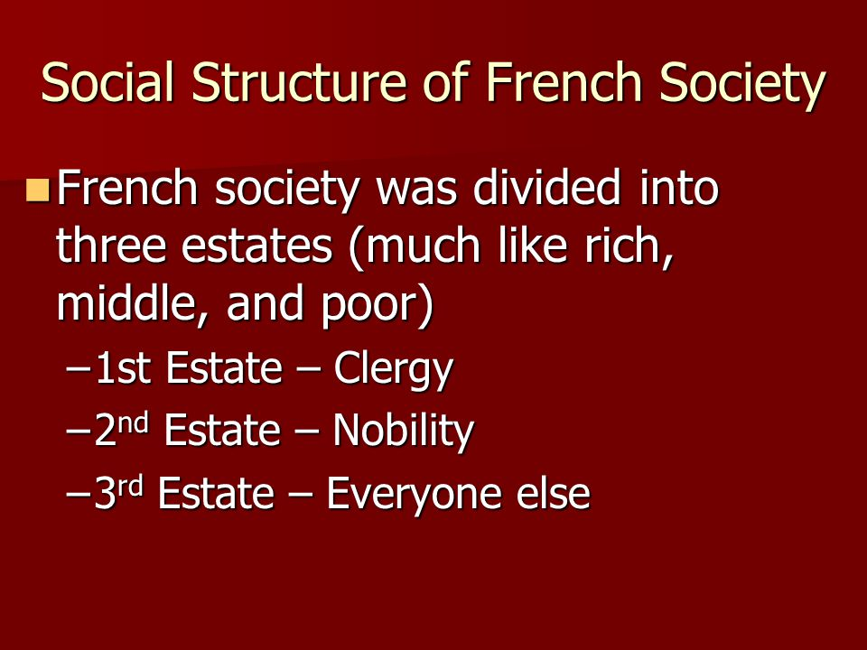Social Structure of French Society French society was divided into three estates (much like rich, middle, and poor) French society was divided into th