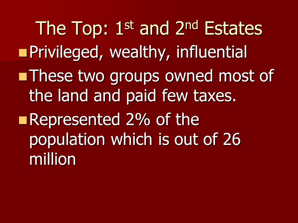 The Top: 1 st and 2 nd Estates Privileged, wealthy, influential Privileged, wealthy, influential These two groups owned most of the land and paid few