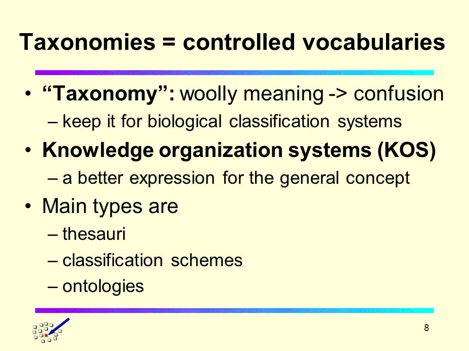 8 Taxonomies = controlled vocabularies Taxonomy : woolly meaning -> confusion –keep it for biological classification systems Knowledge organization systems (KOS) –a better expression for the general concept Main types are –thesauri –classification schemes –ontologies