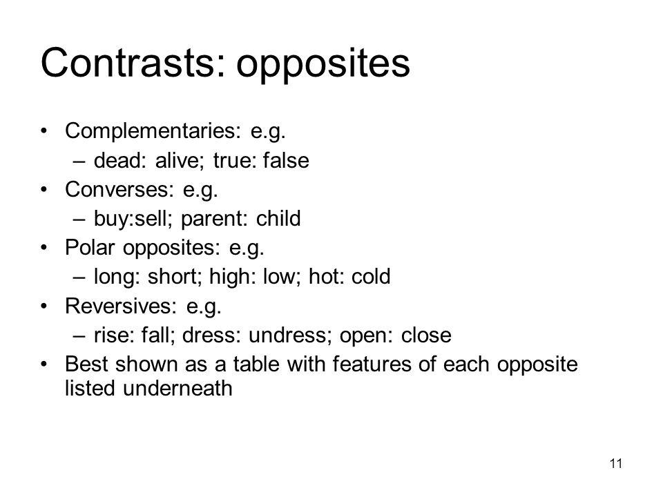 11 Contrasts: opposites Complementaries: e.g. –dead: alive; true: false Converses: e.g.