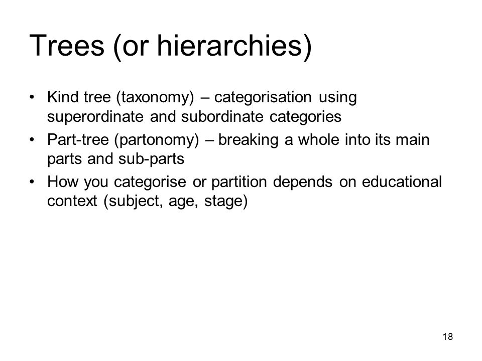 18 Trees (or hierarchies) Kind tree (taxonomy) – categorisation using superordinate and subordinate categories Part-tree (partonomy) – breaking a whol