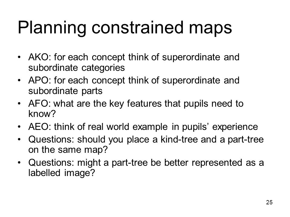 25 Planning constrained maps AKO: for each concept think of superordinate and subordinate categories APO: for each concept think of superordinate and subordinate parts AFO: what are the key features that pupils need to know.