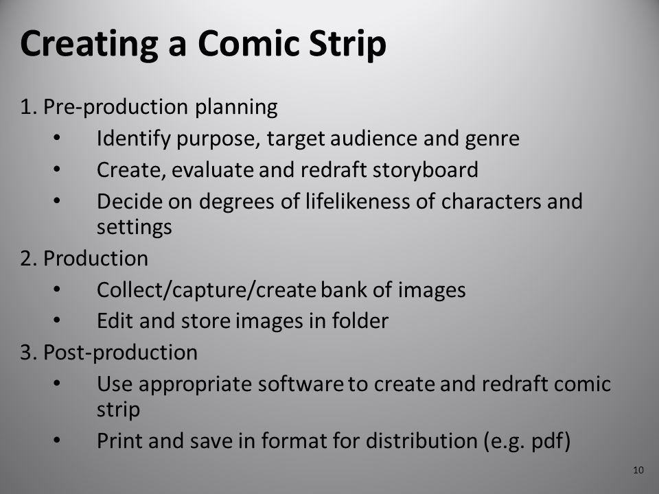 10 Creating a Comic Strip 1. Pre-production planning Identify purpose, target audience and genre Create, evaluate and redraft storyboard Decide on deg