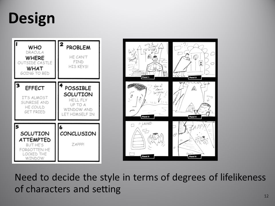 12 Design Need to decide the style in terms of degrees of lifelikeness of characters and setting