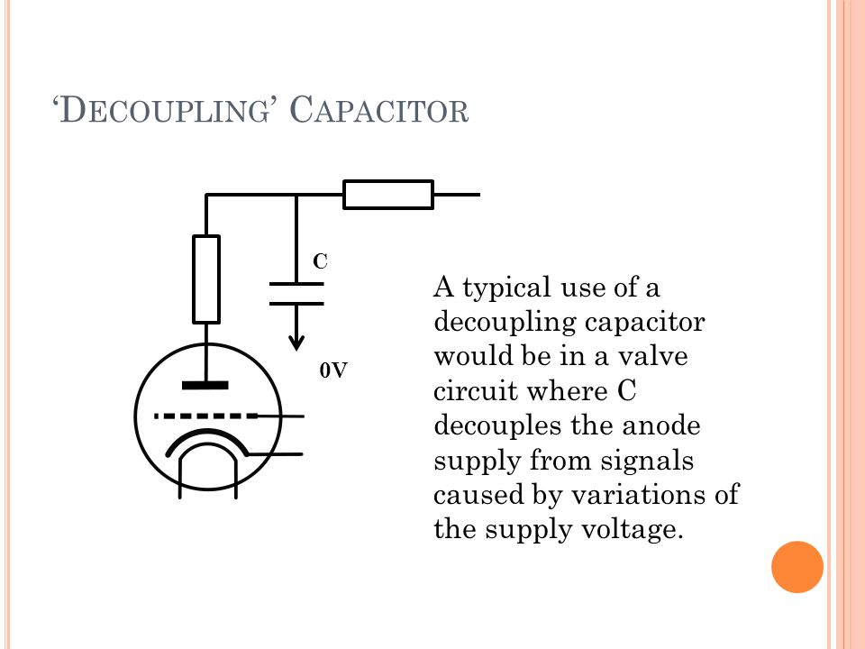 'D ECOUPLING ' C APACITOR A typical use of a decoupling capacitor would be in a valve circuit where C decouples the anode supply from signals caused b