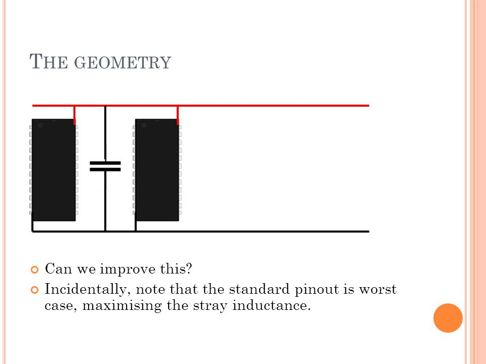 T HE GEOMETRY Can we improve this? Incidentally, note that the standard pinout is worst case, maximising the stray inductance.