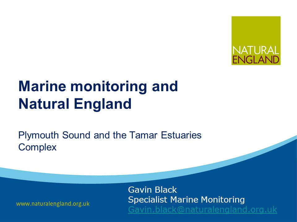Marine monitoring and Natural England Gavin Black Specialist Marine Monitoring Gavin.black@naturalengland.org.uk Plymouth Sound and the Tamar Estuaries Complex