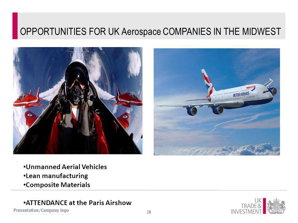 28 OPPORTUNITIES FOR UK Aerospace COMPANIES IN THE MIDWEST Unmanned Aerial Vehicles Lean manufacturing Composite Materials ATTENDANCE at the Paris Air