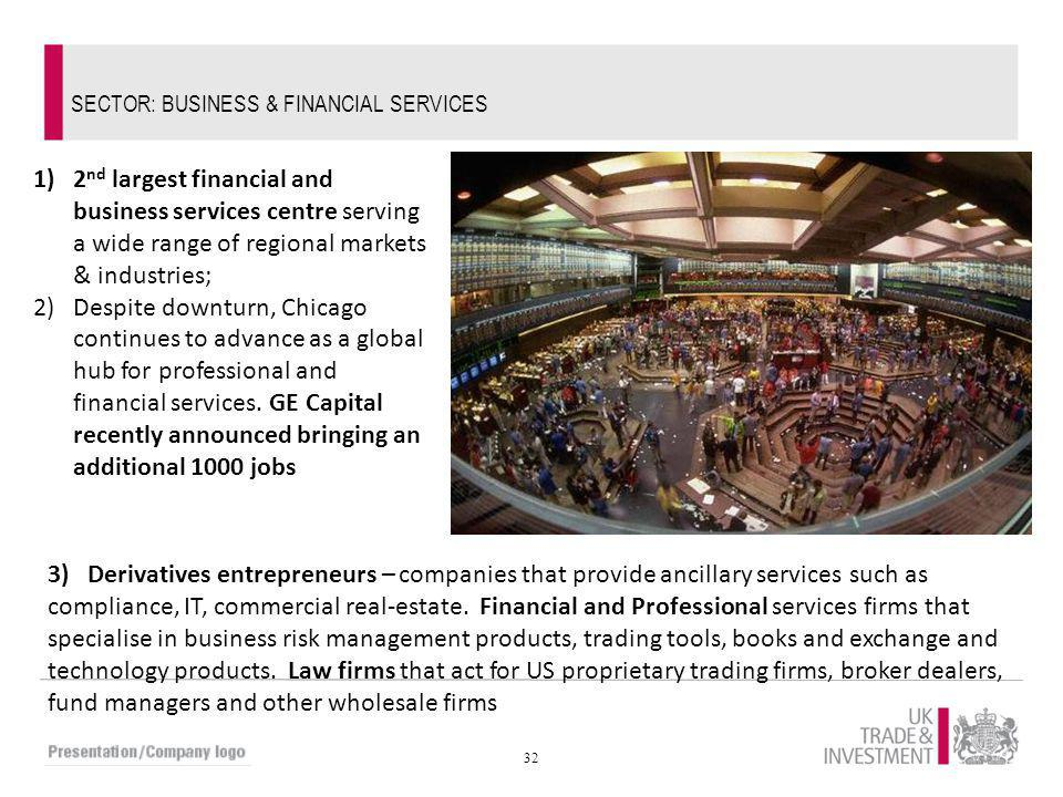 32 SECTOR: BUSINESS & FINANCIAL SERVICES 1)2 nd largest financial and business services centre serving a wide range of regional markets & industries;