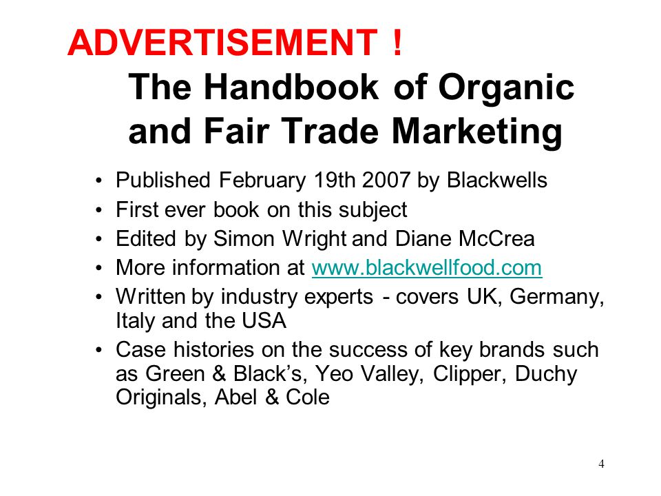 35 Today's Presentation 1.Introduction to O&F Consulting 2.What Does The Success of Organics tell us .