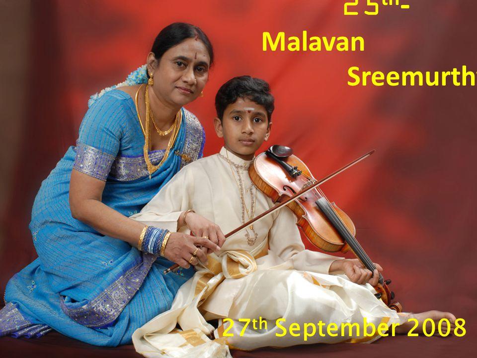 27 th September 2008 25 th - Malavan Sreemurthy