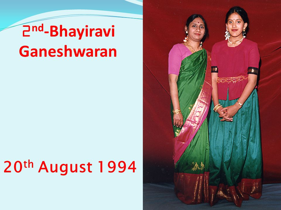 2 nd -Bhayiravi Ganeshwaran 20 th August 1994