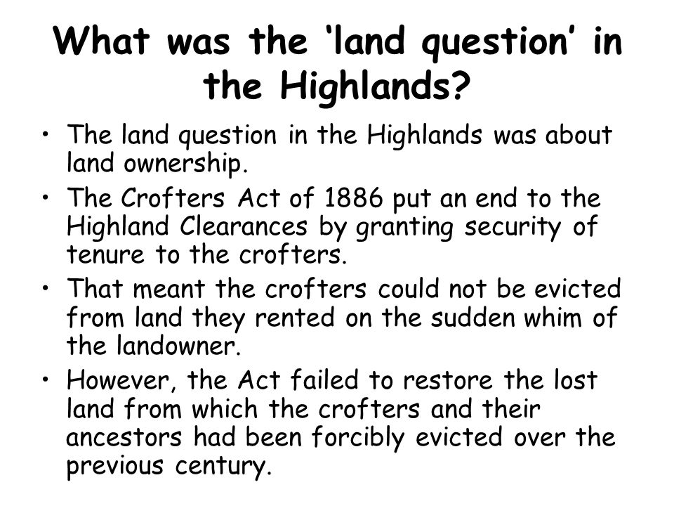 Why did the land question become a problem again after WW1.