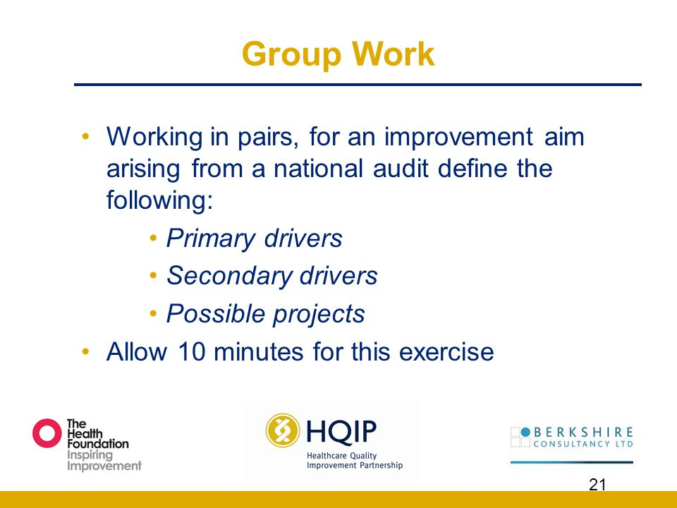 Group Work Working in pairs, for an improvement aim arising from a national audit define the following: Primary drivers Secondary drivers Possible pro