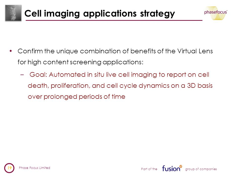 Phase Focus Limited 19 Part of the group of companies Cell imaging applications strategy Confirm the unique combination of benefits of the Virtual Lens for high content screening applications: – Goal: Automated in situ live cell imaging to report on cell death, proliferation, and cell cycle dynamics on a 3D basis over prolonged periods of time