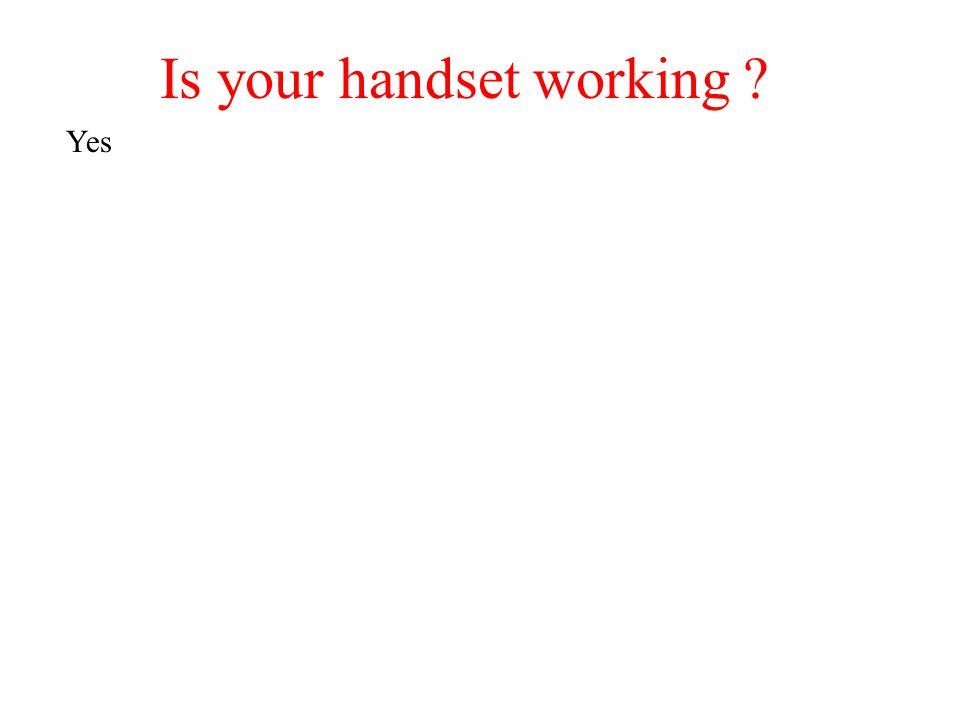 Is your handset working ? Yes