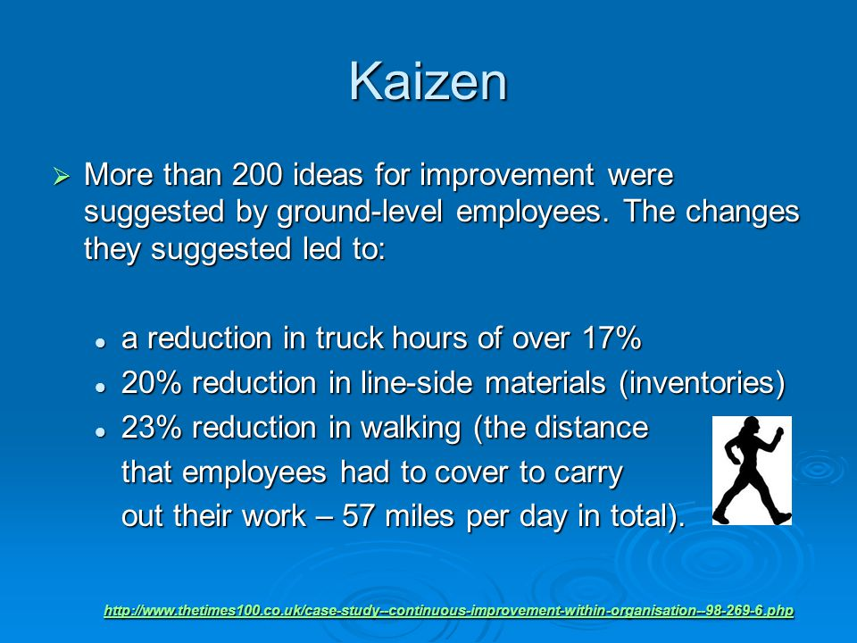 Kaizen  More than 200 ideas for improvement were suggested by ground-level employees.