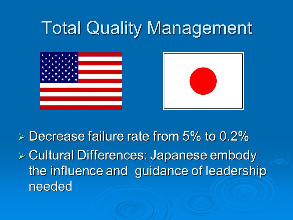 Total Quality Management  Decrease failure rate from 5% to 0.2%  Cultural Differences: Japanese embody the influence and guidance of leadership needed