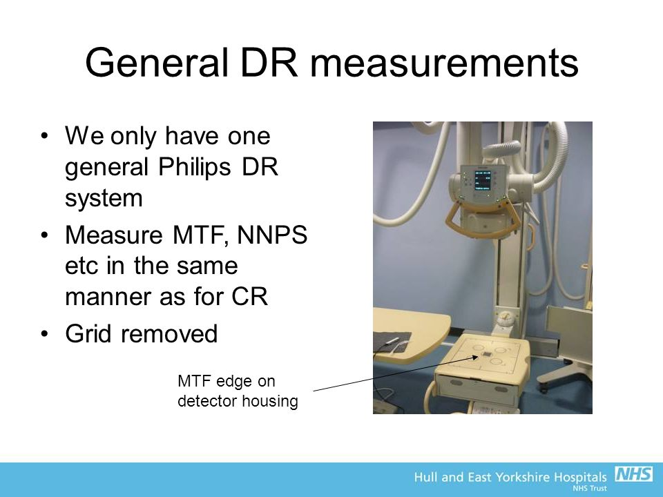 General DR measurements We only have one general Philips DR system Measure MTF, NNPS etc in the same manner as for CR Grid removed MTF edge on detector housing