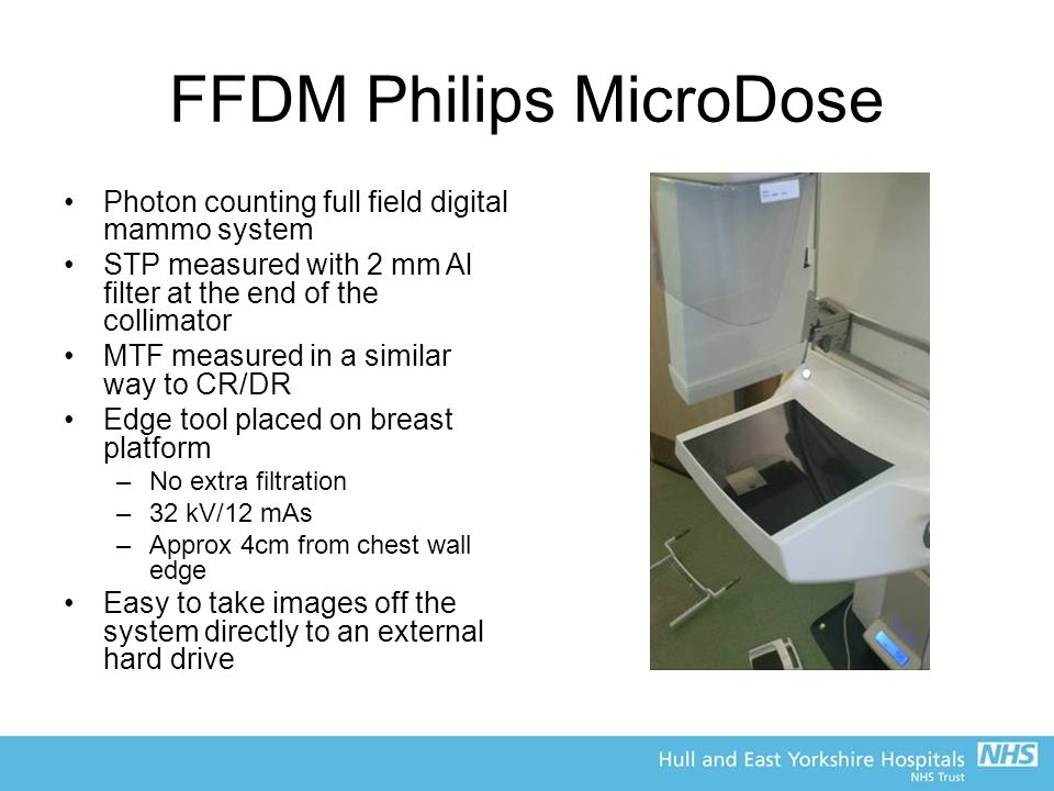 FFDM Philips MicroDose Photon counting full field digital mammo system STP measured with 2 mm Al filter at the end of the collimator MTF measured in a similar way to CR/DR Edge tool placed on breast platform –No extra filtration –32 kV/12 mAs –Approx 4cm from chest wall edge Easy to take images off the system directly to an external hard drive